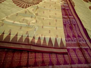 Off White and Purple Beautiful Bomkai Silk Saree with Blouse Piece