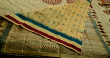 Traditional Motifs Bomkai and Ikat woven Silk Saree with Blouse Piece