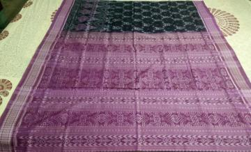 Tribal Theme Cotton Saree in Ikat with Blouse pIece