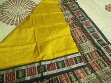 Doll Border and Aanchal Bomkai Saree in Silk with Blouse piece