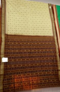 Exclusively woven by Master weaver s all over body fish motifs traditional aanchal Tasar Saree with