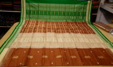 Doll Motifs Double Border SIlk Saree with Blouse Piece