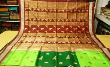 Peacock Motifs Beautiful Bomkai Silk Saree with Blouse Piece