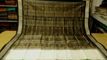 White and Black Traditional Bomkai Saree with Blouse Piece