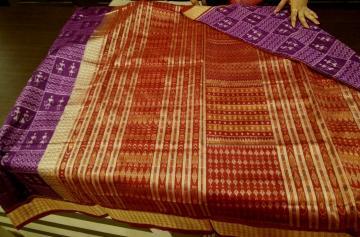 Tribal work Ikat Silk Saree with Blouse Piece