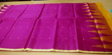 Ganga Jamuna Border Fish motifs Aanchal Silk Saree with Blouse Piece