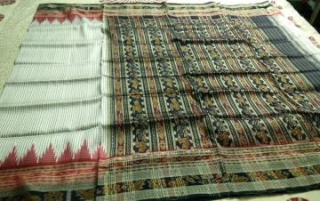 Body Checks Traditional Ikat SIlk Saree without Blouse Piece