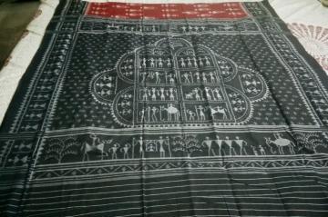 Tribal Motifs Cotton Ikat Saree without Blouse Piece