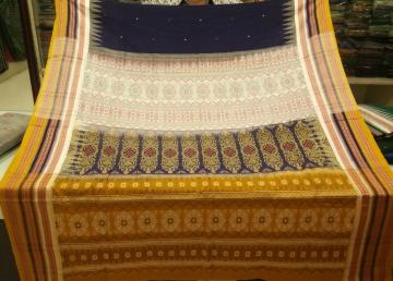 Colorful Border and Aanchal Cotton Bomkai Saree with Blouse Piece