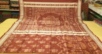 Worship Ladies Motifs All over Ikat Silk Saree with Blouse Piece