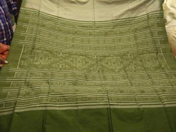 Silk and Tasar Mix woven Ikat Saree with Blouse Piece