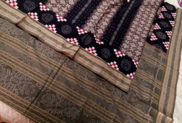 Traditional Pasapalli and ikat work Cotton Saree without Blouse Piece
