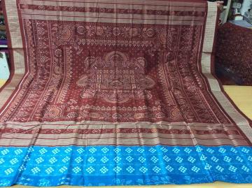 Pasapalli and ikat Hand woven Silk saree with Blouse Piece