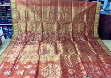All over ikat beautiful traditional Tissue Silk Saree in Orange with Blouse Piece