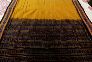 Body Checks Cotton Ikat Saree without Blouse Piece