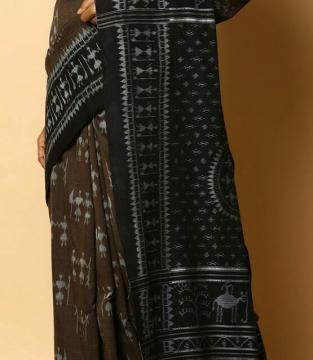 All Over Tribal Figures Ikat Cotton Saree without Blouse Piece