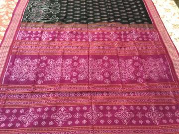 Peacock Motifs Cotton Ikat Saree with Blouse Piece
