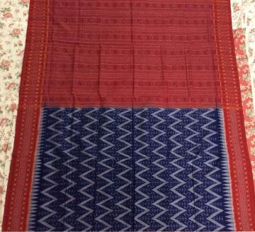 Geometric body Traditional Aanchal Sambalpuri Cotton Ikat Saree with Blouse piece