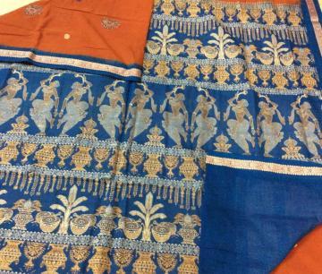 Exclusively woven Exquisite Marriage theme Cotton Bomkai Saree with Blouse