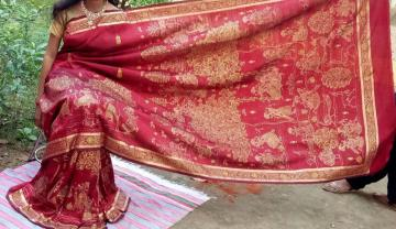 Exquisite intricate Festival theme bronze n gold hand painting silk Saree with blouse piece