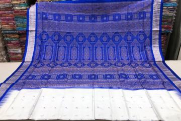 Beautiful aanchal White and Blue Bomkai silk Saree with blouse piece