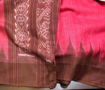 Traditional Aanchal and Temple Border Erie Silk Saree with Blouse Piece