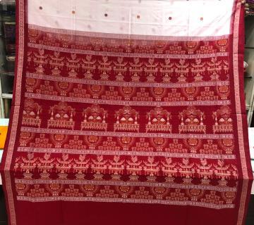Laxmi Pooja theme aanchal with fish motifs border Cotton Bomkai saree with blouse piece