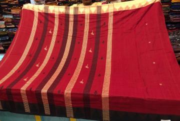 Fish and Bird motifs cotton tussar mix Ganga Jamuna border Kotpad Saree