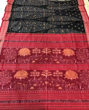 Tree of life theme with animal and bird motifs Cotton Saree with Blouse piece