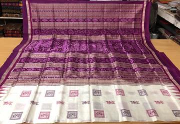Tribal motifs bomkai work body with ikat aanchal Silk Saree with Blouse piece