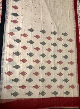 Ganga Jamuna Border Fish Motifs Ikat Cotton Saree with Blouse Piece