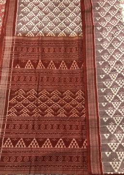 Handwoven Double Ikat Cotton Saree with Blouse Piece